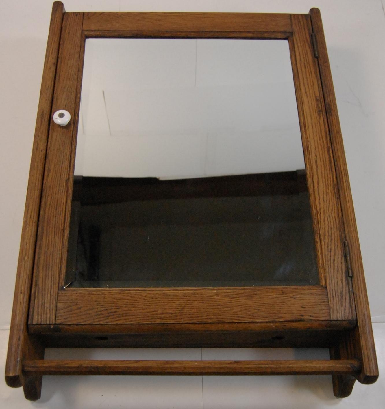 Primitive Antique Oak Medicine Cabinet Bathroom Cupboard