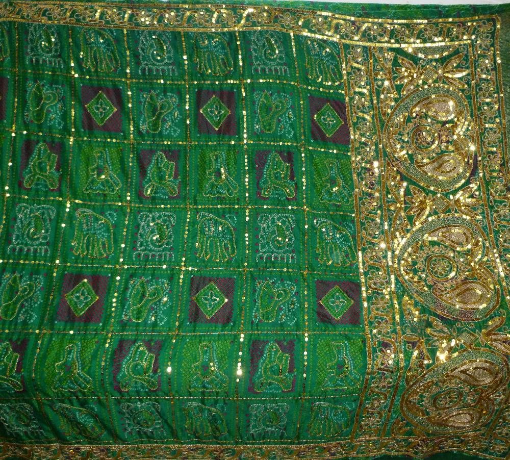 Bandhi Fabric Hand Embroidered Golden Zari Sequins Beaded