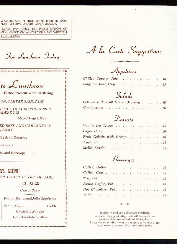 1970 ATCHISON TOPEKA  u0026 SANTA FE SUPER CHIEF DINING CAR MENU ~ RANCHOS DE TAOS   eBay