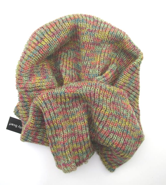 Rainbow Cowl Knitting Pattern : INFINITY COWL KNIT SCARF ~ MULTI-COLOR RAINBOW YARN ~ NEW