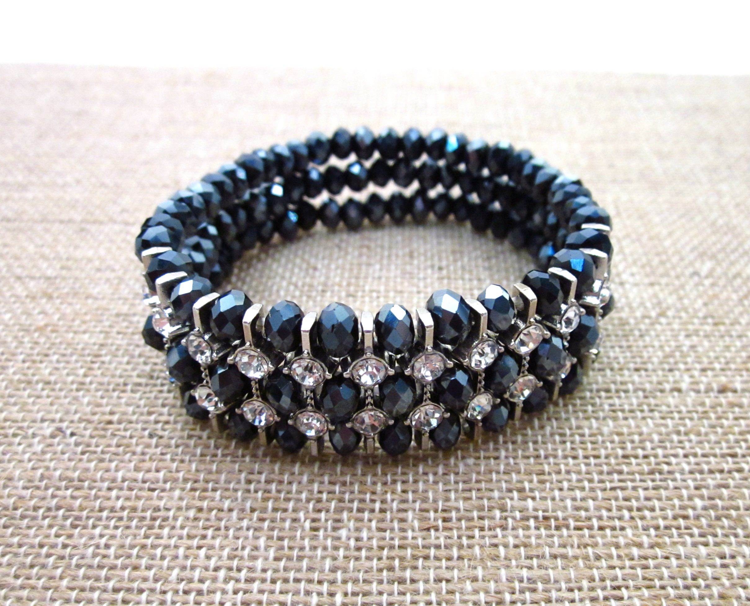 black faceted stretch bracelet with crystals three