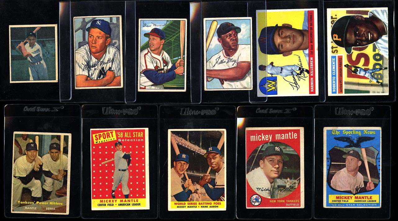 Lot(11) 1952-59 Topps Super Stars, Mantle Clemente Mays Musial, VG to EX (PWCC) - Image 1
