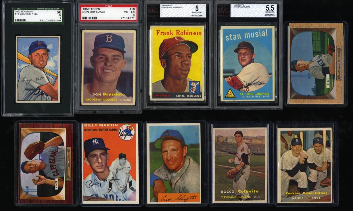 Lot(33) 1952-63 Topps Super Stars Mantle Mays Banks Maris Clemente, EX+ (PWCC) - Image 1