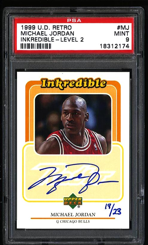 Image of: 1999 UD Retro Inkredible Level-2 Michael Jordan AUTO /23 #MJ PSA 9 MINT (PWCC)