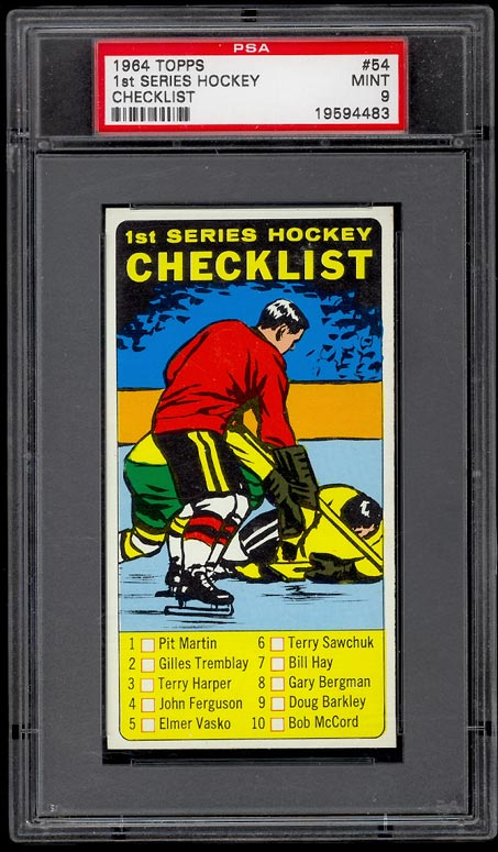 Image of: 1964 Topps Hockey Checklist 1st Series #54 PSA 9 MINT (PWCC)