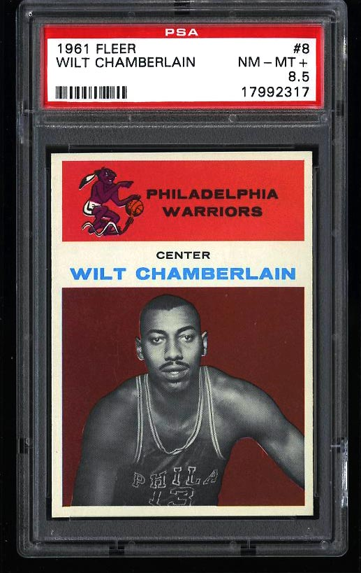 Image of: 1961 Fleer Basketball Wilt Chamberlain ROOKIE #8 PSA 8.5 NM-MT+ (PWCC)