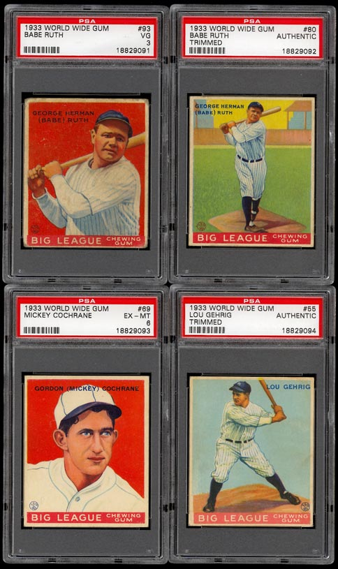 Image of: 1933 WWG Goudey Mid-Grade COMPLETE SET Babe Ruth Lou Gehrig Foxx, PSA (PWCC)