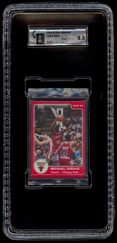 Image of: 1984-85 Star Bulls Team Bag, Michael Jordan #101 ROOKIE RC GAI 9.5 GEM MT (PWCC)