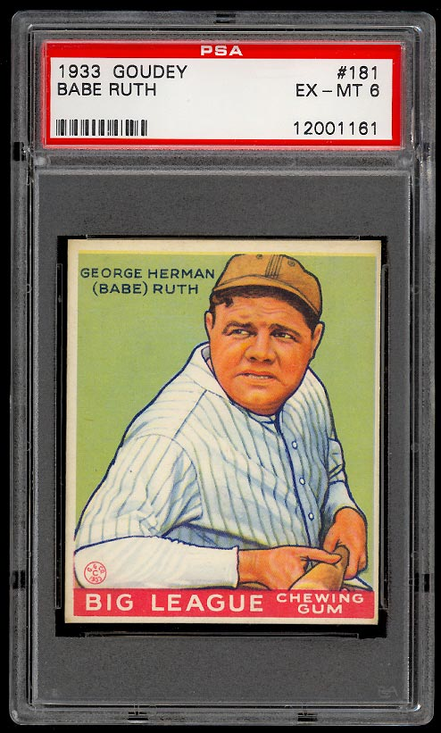 Image of: 1933 Goudey Babe Ruth #181 PSA 6 EXMT (PWCC)