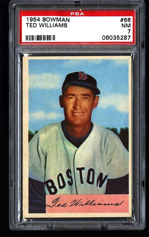 Image of: 1954 Bowman Ted Williams #66 PSA 7 NRMT (PWCC)