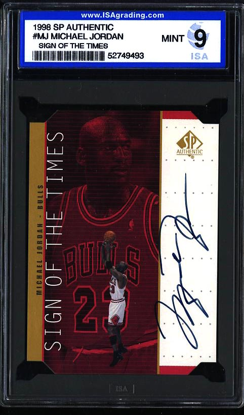 Image of: 1998 SP Auth Sign Times Michael Jordan AUTO #MJ ISA 9 MINT (PWCC)