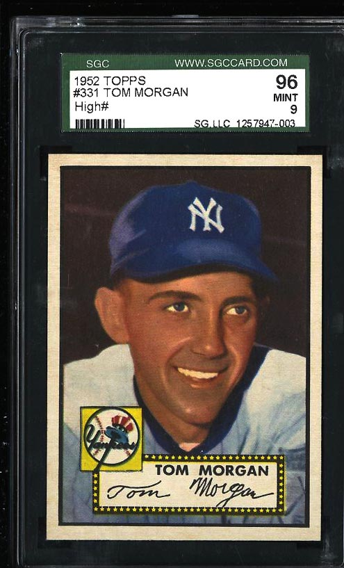 Image of: 1952 Topps Tom Morgan #331 SGC 9 MINT (PWCC)