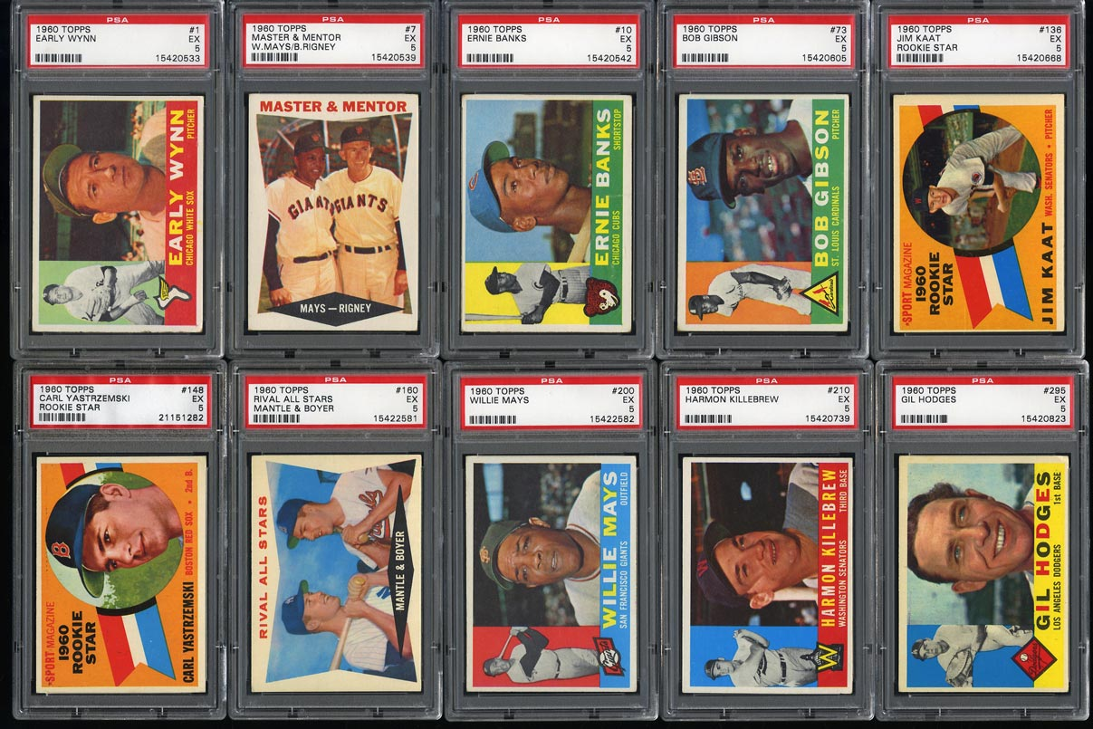 Image of: 1960 Topps Mid-Hi Grd COMPLETE SET Mantle Aaron Mays Clemente Koufax, PSA (PWCC)