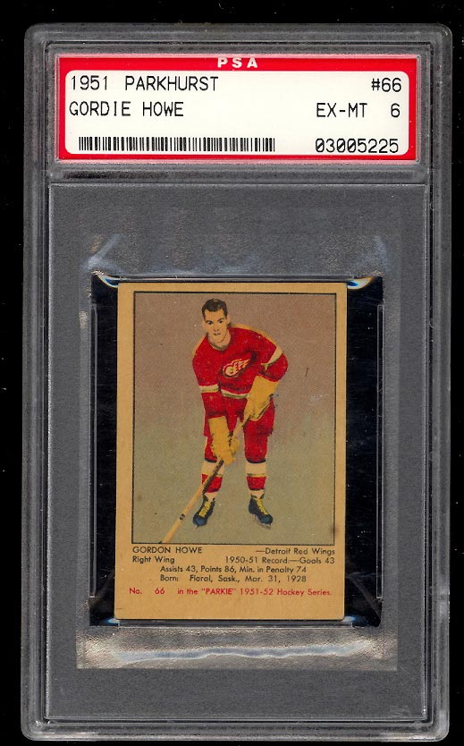 Image of: 1951 Parkhurst SETBREAK Gordie Howe ROOKIE #66 PSA 6 EXMT (PWCC)