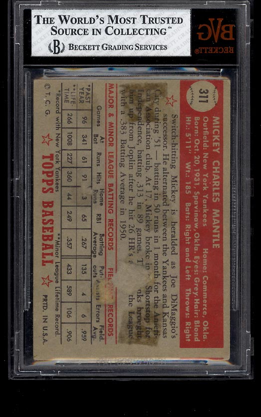 1952 Topps Mickey Mantle #311 BVG 1.5 FAIR+ (PWCC) - Image 2