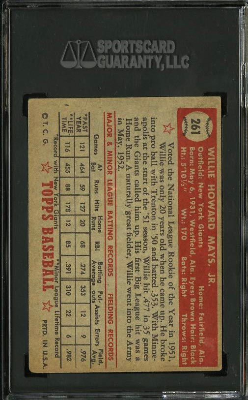 1952 Topps Willie Mays OWNED BY MICKEY MANTLE #261 SGC 4 VGEX (PWCC) - Image 2