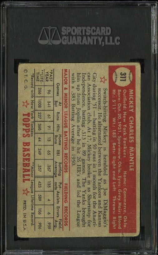 1952 Topps Mickey Mantle #311 SGC 1.5 FAIR (PWCC) - Image 2
