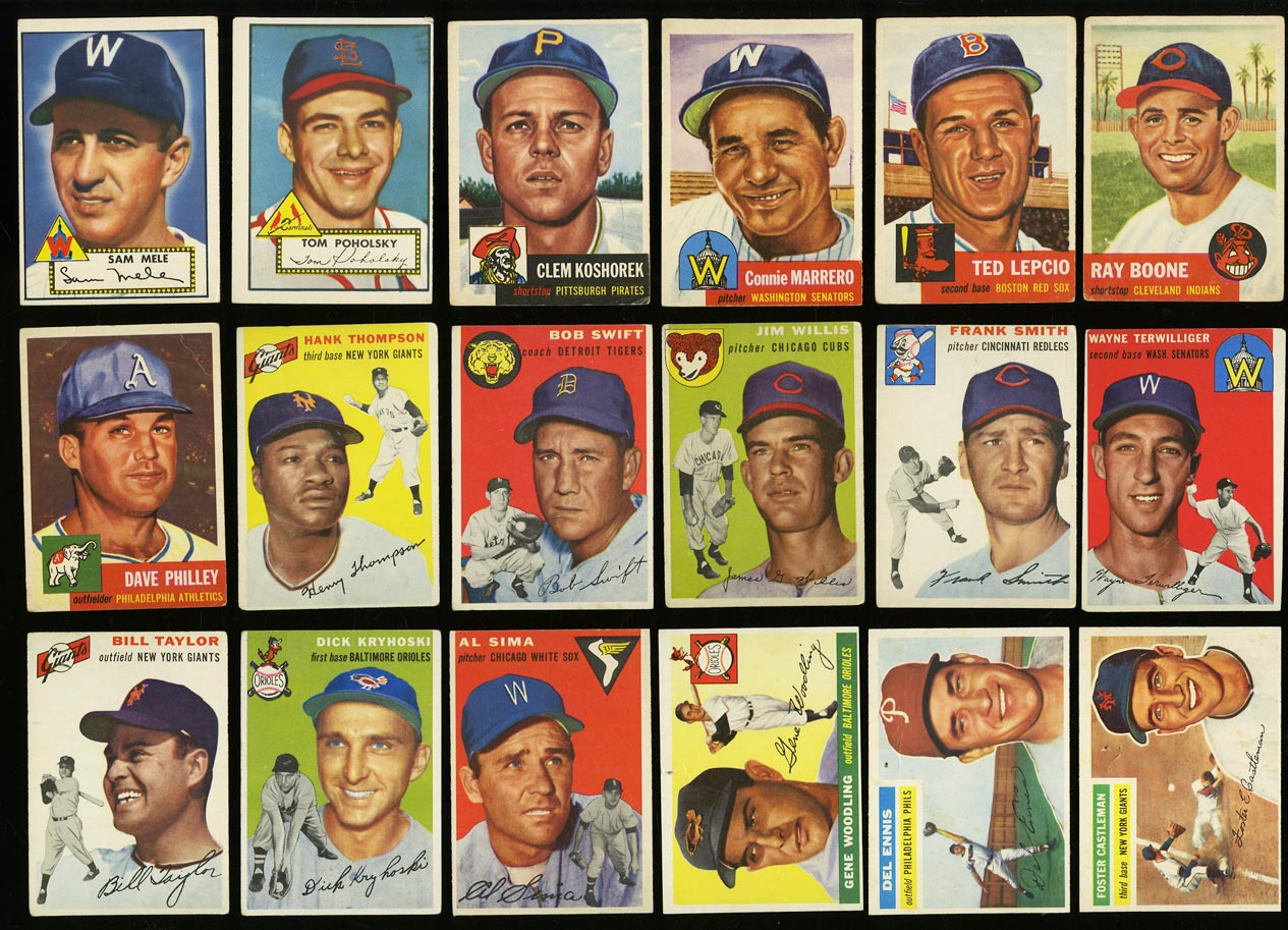Lot(39) 1952-59 Topps w/ Rosen Collins Bauer Mathews Mantle Robinson, EX (PWCC) - Image 1