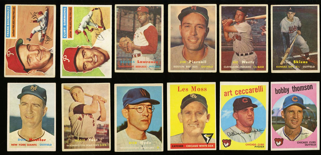 Lot(39) 1952-59 Topps w/ Rosen Collins Bauer Mathews Mantle Robinson, EX (PWCC) - Image 2