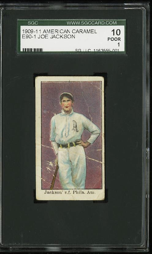 Image of: 1909 E90-1 American Caramel Shoeless Joe Jackson ROOKIE RC SGC 1/10 PR (PWCC)