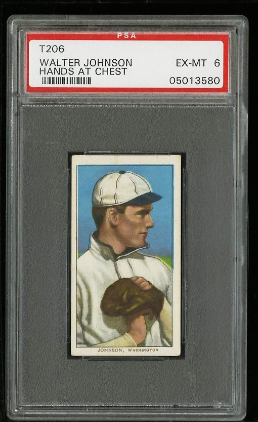 Image of: 1909-11 T206 Walter Johnson HANDS AT CHEST PSA 6 EXMT (PWCC)
