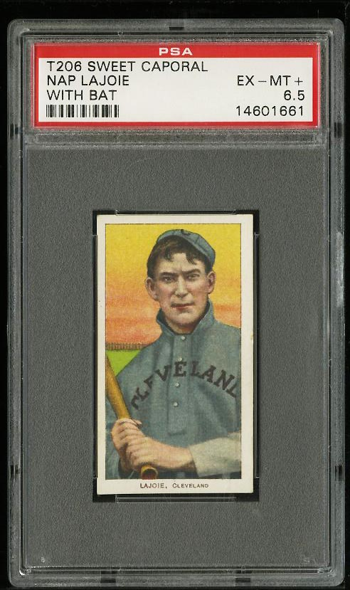 Image of: 1909-11 T206 Nap Lajoie WITH BAT PSA 6.5 EXMT+ (PWCC)