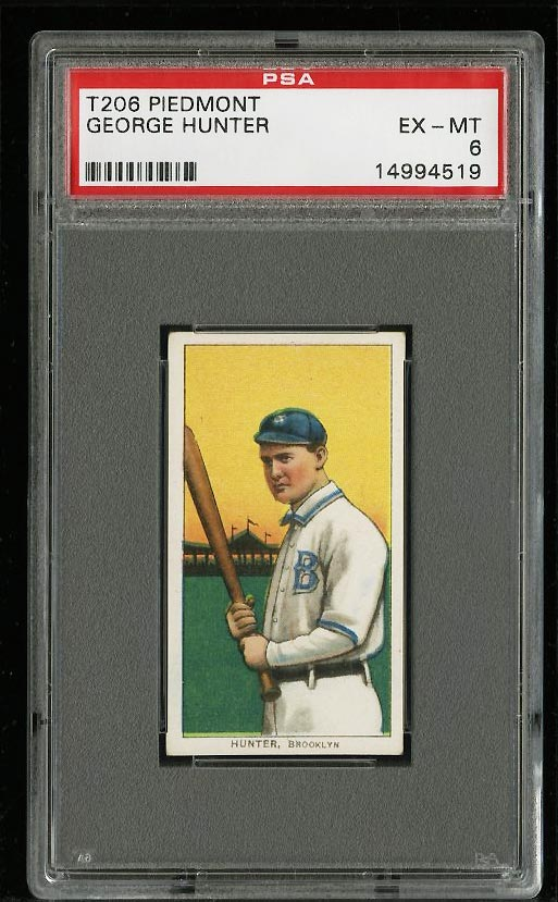 Image of: 1909-11 T206 George Hunter PSA 6 EXMT (PWCC)