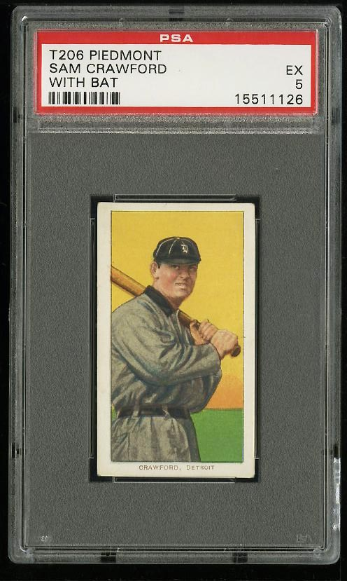 Image of: 1909-11 T206 Sam Crawford WITH BAT PSA 5 EX (PWCC)