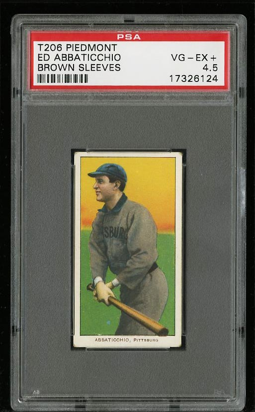 Image of: 1909-11 T206 Ed Abbaticchio BROWN SLEEVES PSA 4.5 VGEX+ (PWCC)