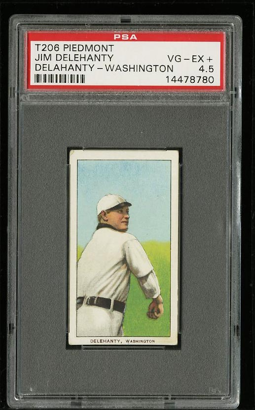 Image of: 1909-11 T206 Jim Delahanty WASHINGTON PSA 4.5 VGEX+ (PWCC)