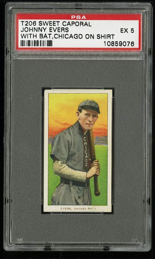 Image of: 1909-11 T206 Johnny Evers WITH BAT, CHICAGO SHIRT PSA 5 EX (PWCC)