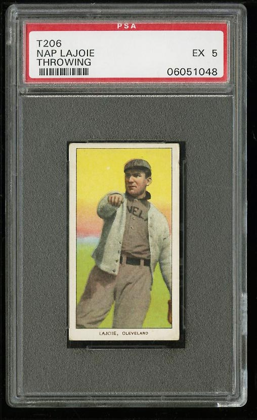 Image of: 1909-11 T206 Nap Lajoie THROWING PSA 5 EX (PWCC)