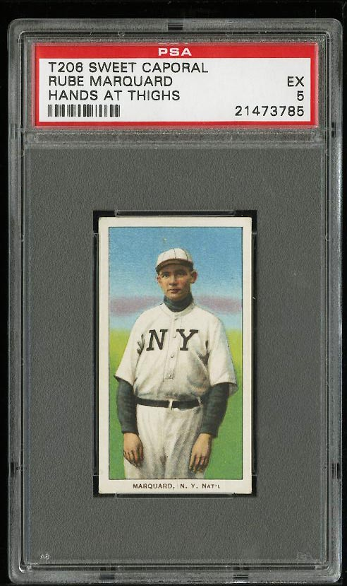 Image of: 1909-11 T206 Rube Marquard HANDS AT SIDE PSA 5 EX (PWCC)