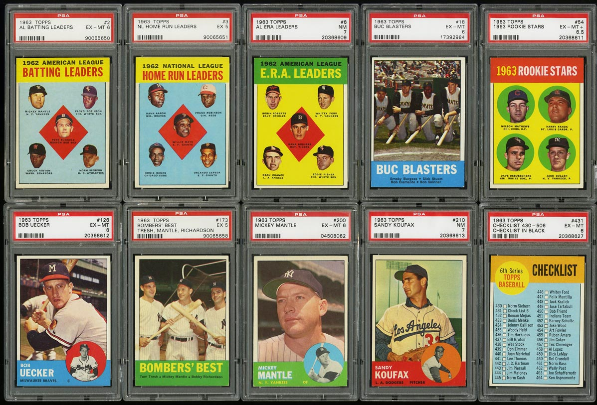 Image of: 1963 Topps Mid-Hi Grd COMPLETE SET Mantle Aaron Mays Clemente Rose RC PSA (PWCC)