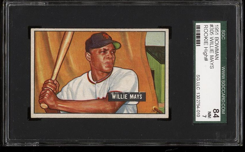 Image of: 1951 Bowman Willie Mays ROOKIE RC #305 SGC 7/84 NRMT (PWCC)