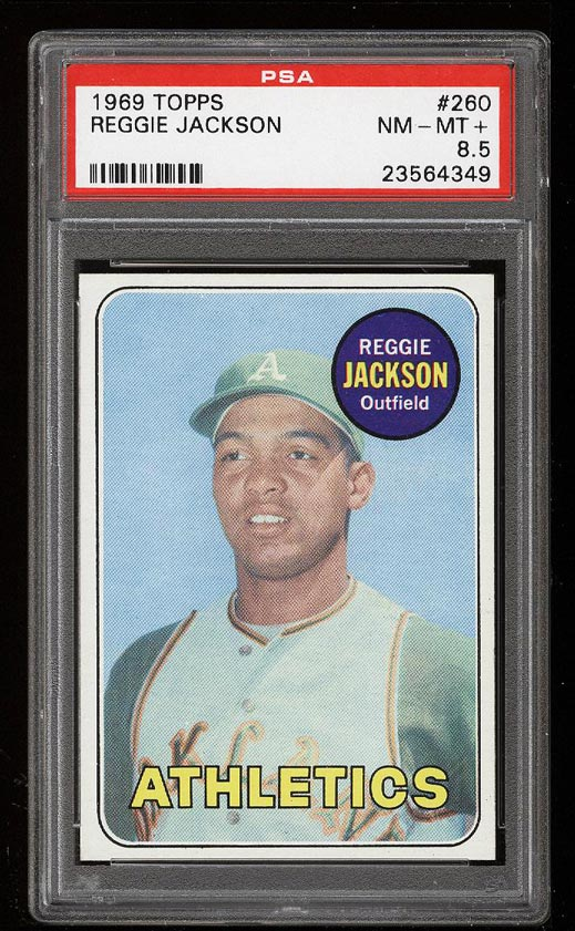Image of: 1969 Topps Reggie Jackson ROOKIE RC #260 PSA 8.5 NM-MT+ (PWCC)