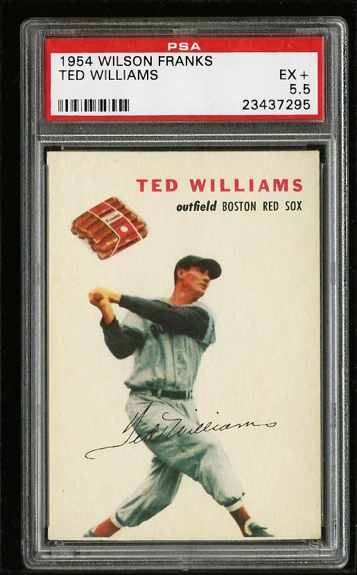 Image of: 1954 Wilson Franks Ted Williams PSA 5.5 EX+ (PWCC)