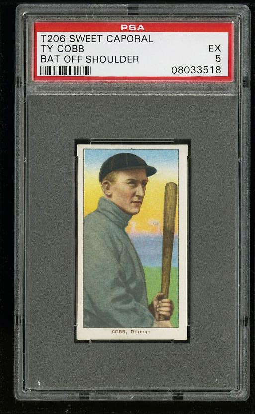 Image of: 1909-11 T206 Ty Cobb BAT OFF SHOULDER PSA 5 EX (PWCC)