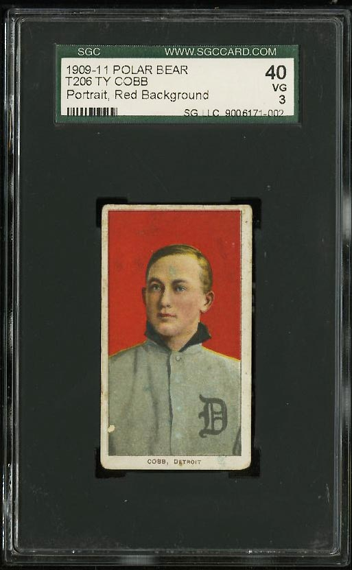 Image of: 1909-11 T206 Ty Cobb RED PORTRAIT, POLAR BEAR SGC 3/40 VG (PWCC)