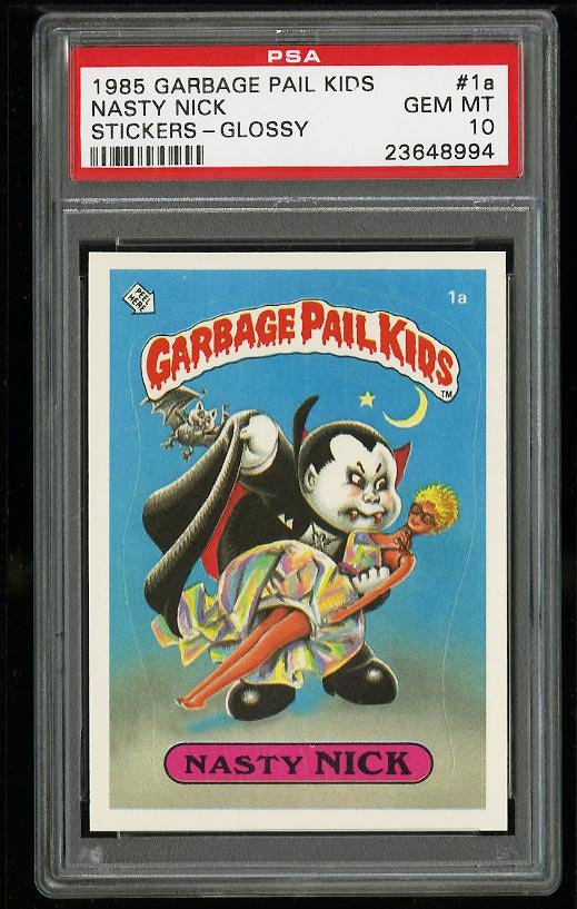 Image of: 1985 Topps Garbage Pail Kids Stickers Glossy Nasty Nick #1a PSA 10 GEM MT (PWCC)