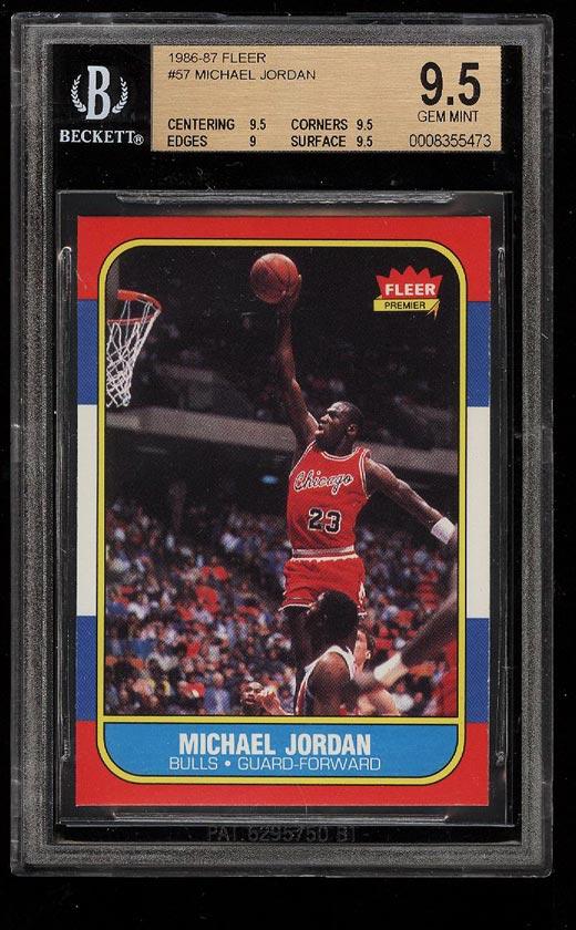 Image of: 1986 Fleer Basketball Michael Jordan ROOKIE RC #57 BGS 9.5 GEM MINT (PWCC)