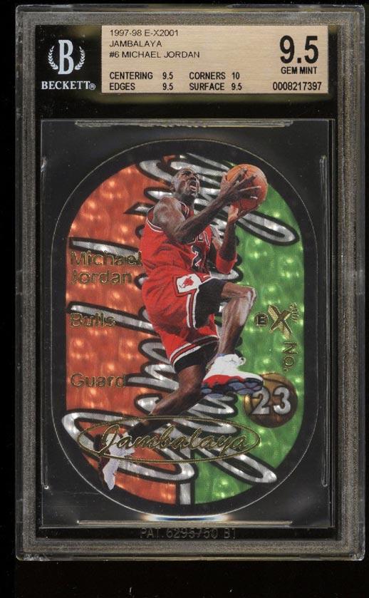 Image of: 1997 E-X2001 Jambalaya Die-Cut Michael Jordan #6 BGS 9.5 GEM MINT (PWCC)