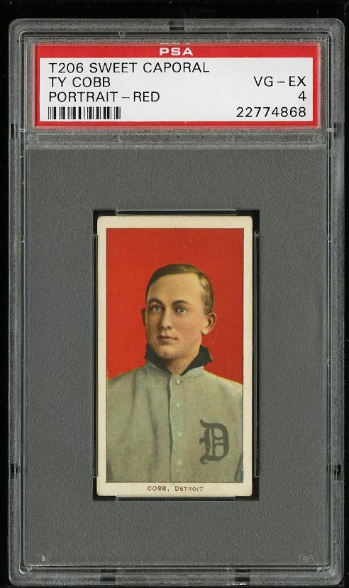 Image of: 1909-11 T206 Ty Cobb RED PORTRAIT PSA 4 VGEX (PWCC)
