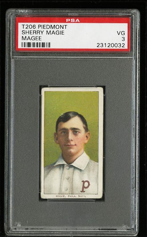 Image of: 1909-11 T206 Sherry Magee MAGIE ERROR PSA 3 VG (PWCC)