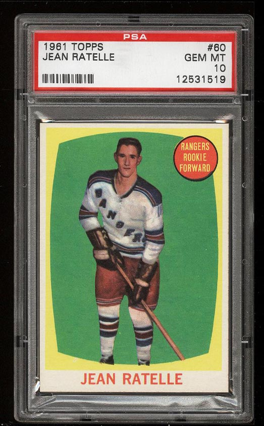 Image of: 1961 Topps Hockey Jean Ratelle ROOKIE RC #60 PSA 10 GEM MINT (PWCC)