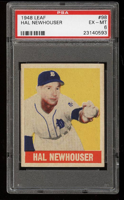 Image of: 1948 Leaf Hal Newhouser SP ROOKIE RC #98 PSA 6 EXMT (PWCC)