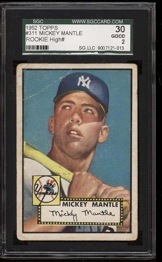 Image of: 1952 Topps Mickey Mantle ROOKIE RC #311 SGC 2/30 GOOD (PWCC)