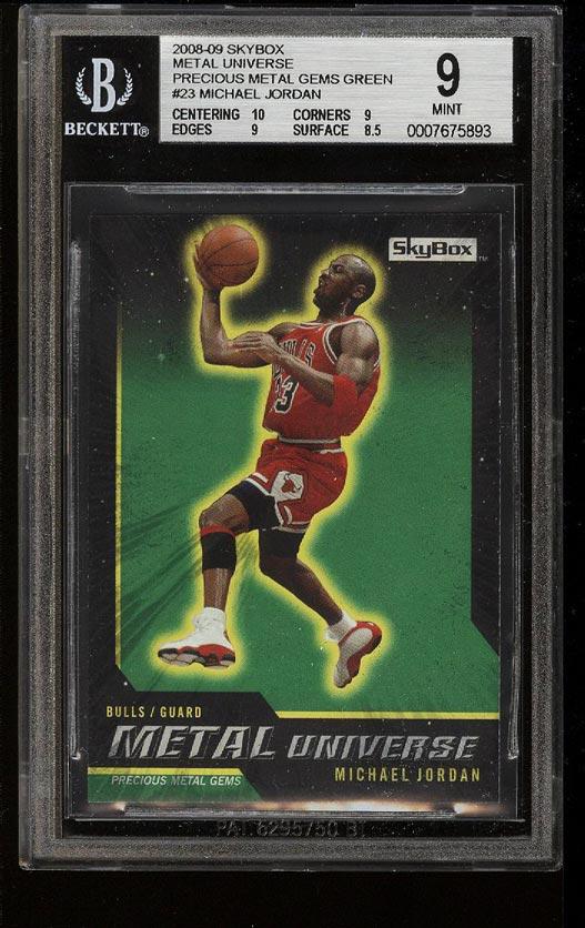 Image of: 2008 Skybox Precious Metal Gems Green Michael Jordan PMG /50 BGS 9 MINT (PWCC)