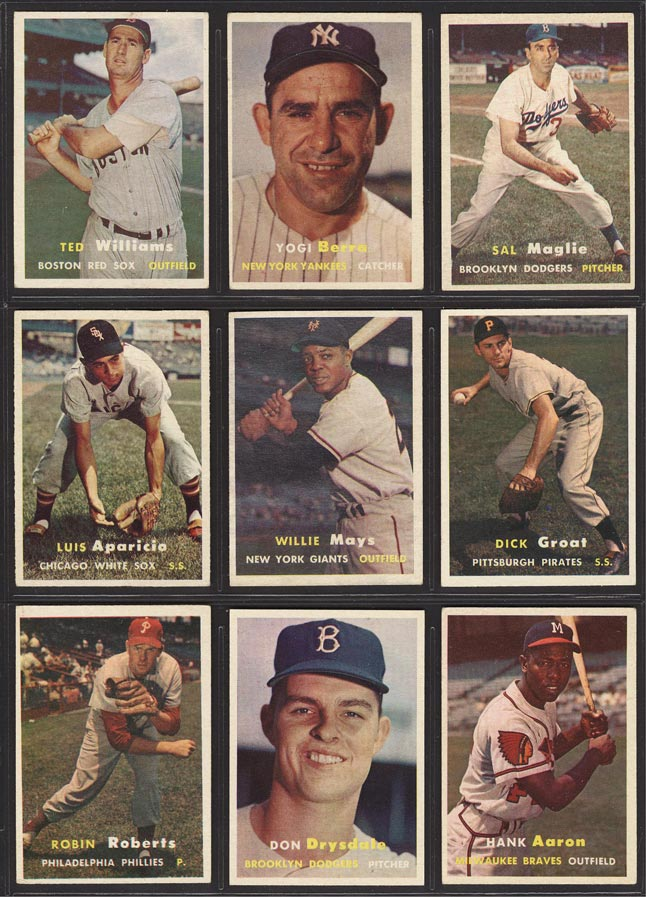 Image of: 1957 Topps Mid-Grde COMPLETE SET Mickey Mantle Aaron Mays Koufax Drysdale (PWCC)