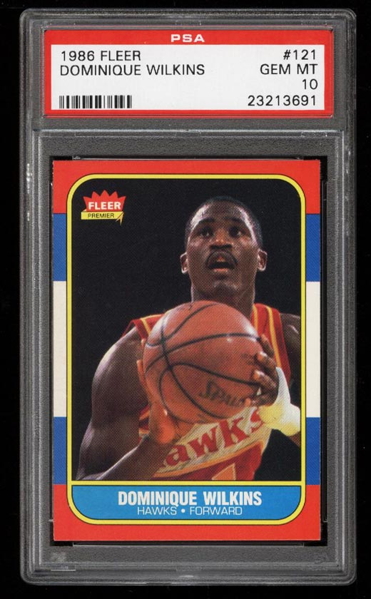Image of: 1986 Fleer Basketball Dominique Wilkins ROOKIE RC #121 PSA 10 GEM MINT (PWCC)